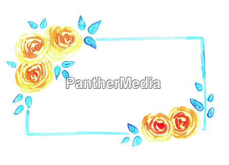 watercolor floral banner with roses and