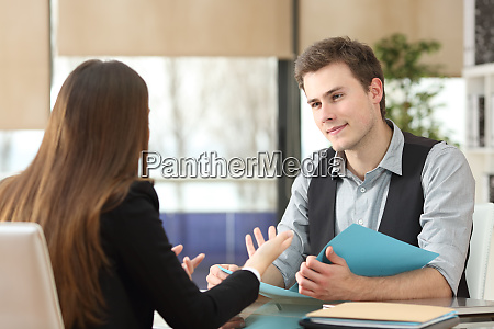 businessman and woman having an interview