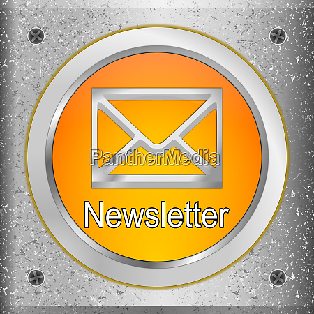 orange newsletter button on a metal