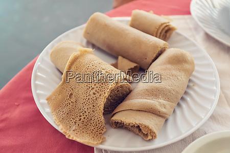 injera traditional and national dish of