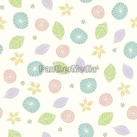 scandinavian style cute botanical motifs pattern