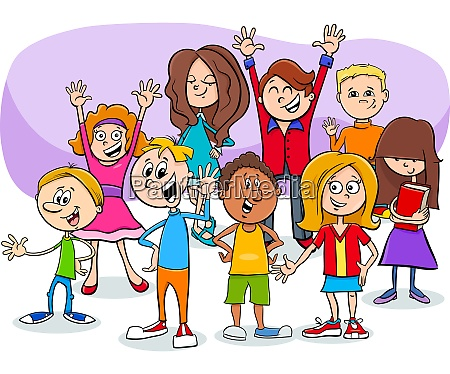 cartoon children and teens characters group