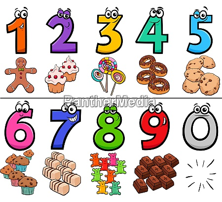 educational cartoon numbers set with sweets