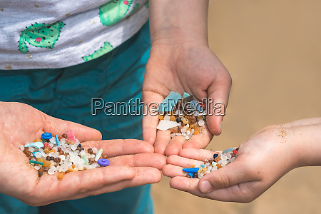tiny harmful plastic microbeads collected on