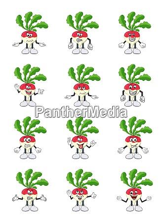 turnip set cartoon character illustration