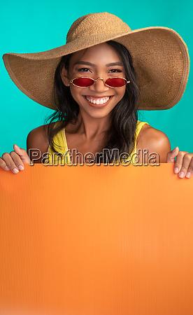 bright summer portrait of beautiful smiling