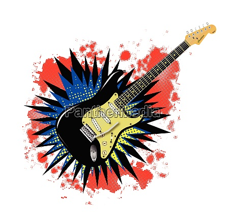 solid guitar cartoon explosion