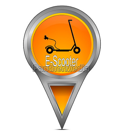 orange map pointer with e scooter