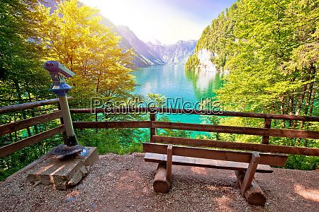 konigssee alpine lake idyllic sun haze