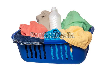 wash basket isolated closeup of colorful