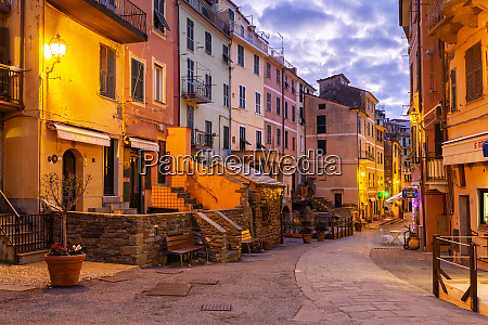 main street of vernazza at twilight