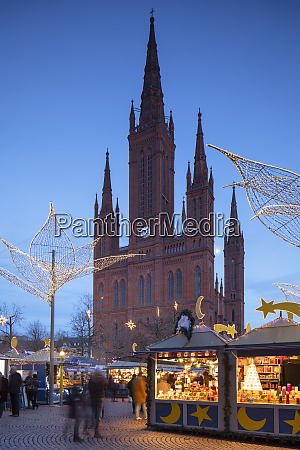 christmas market and marktkirche market church