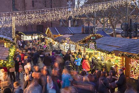 christmas market at dusk mainz rhineland