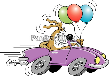 cartoon illustration of a dog driving
