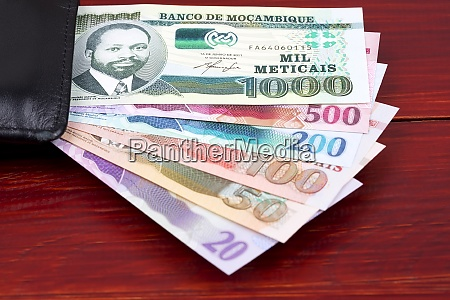 mozambican money in the black wallet
