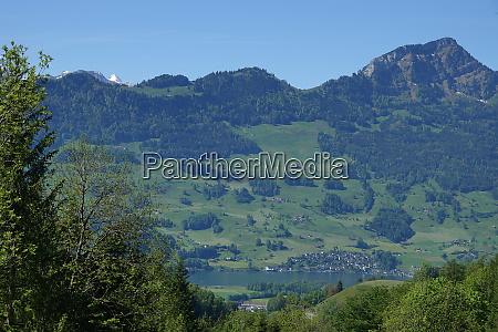 landscape in canton schwyz in switzerland