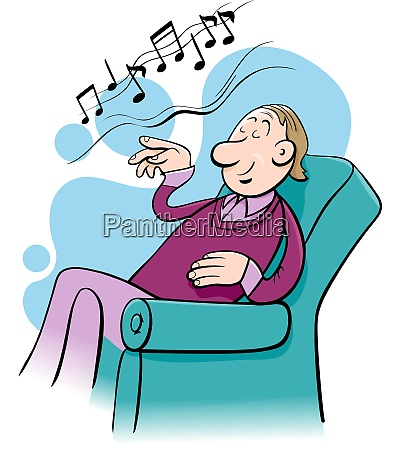 music lover character cartoon illustration