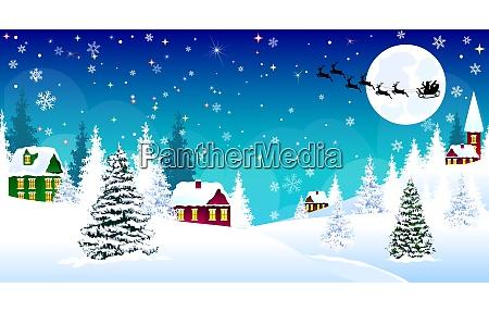 christmas, winter, village, night, snow, santa - 27089265
