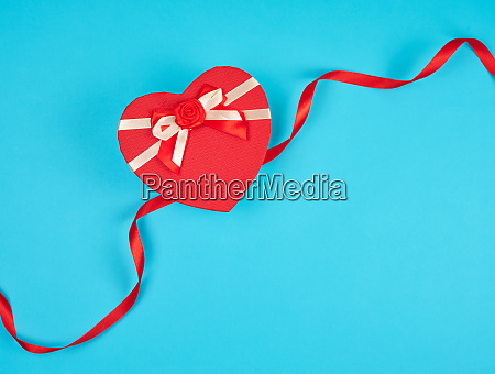 red heart shaped gift box with
