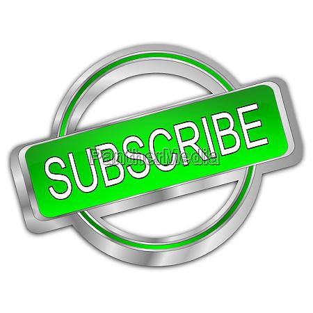 silver green subscribe button 3d