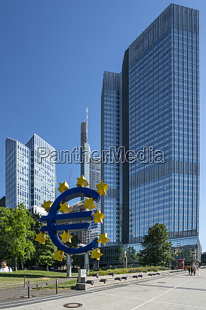 the eurotower building in frankfurt