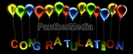 colorful balloons with congratulation