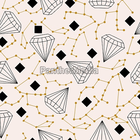 celestial elements and diamonds in a