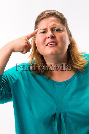 fatty woman having headache
