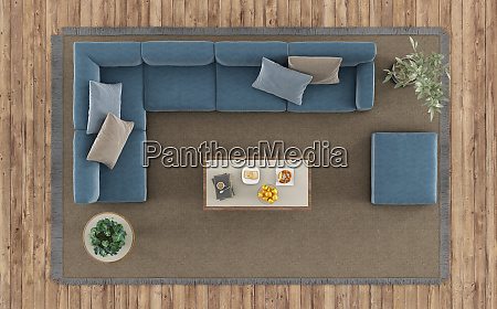 top view of a modern living