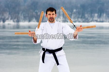 martial arts with nunchaku