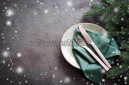christmas festive table setting with xmas