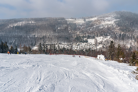 ski slope in szczyrk in beskid