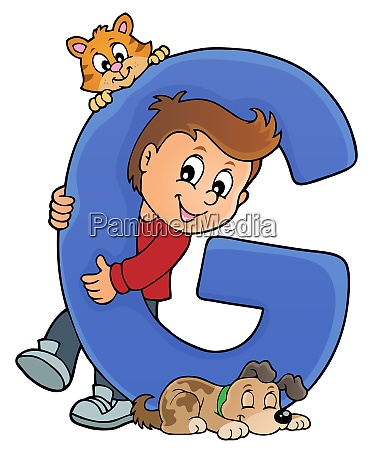 boy and pets with letter g