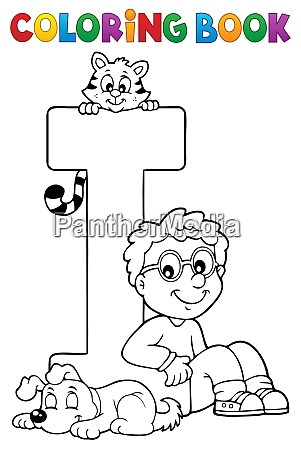 coloring book boy and pets by