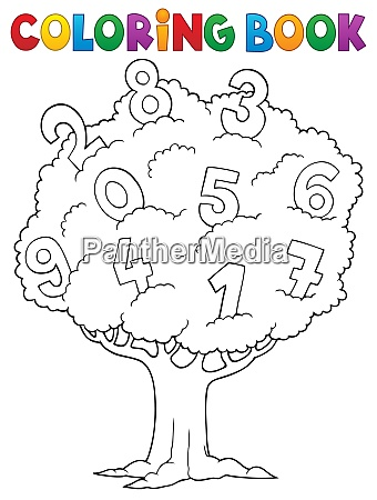 coloring book tree with numbers theme