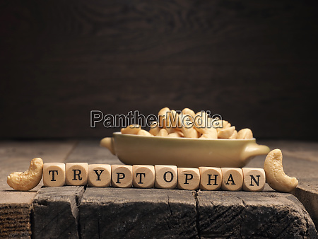wooden blocks with the word tryptophan