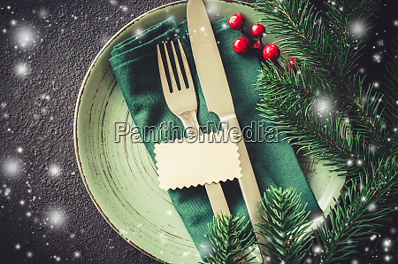 christmas festive table setting with empty