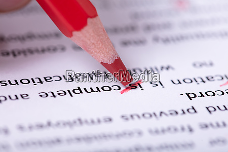 red pencil marking error during spellchecking