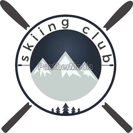 mounting skiing logo design