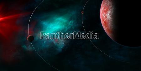 celestial art small planets orbiting