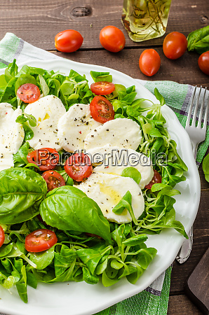 lambs lettuce salad with mozzarella tomato