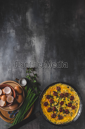 omelette with sausage