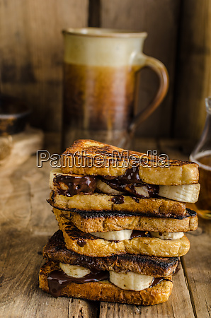 french toast filled banana and chocolate