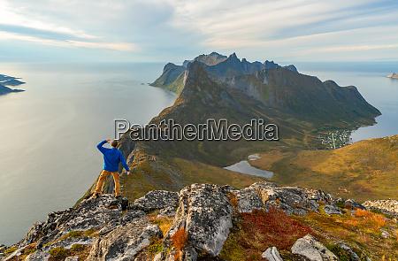 stunning view from mountains in lofoten