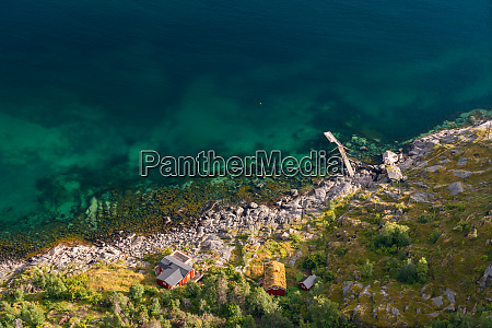 aerial view over colourful sea