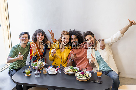 portrait of happy group of friends