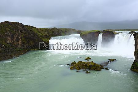 godafoss falls in summer season view
