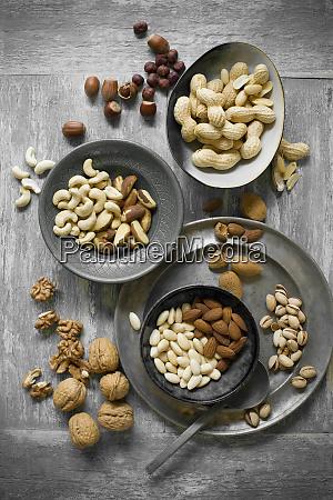 peanuts hazelnuts cashew nuts brazil nuts