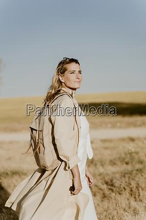 female traveller looking sideways