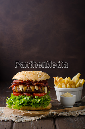 homemade bacon burger with lettuce and